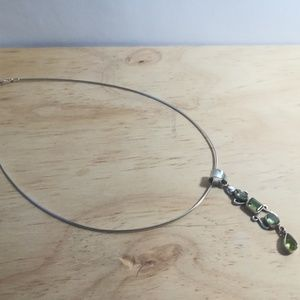 Jewelry - Sterling silver necklace with  emerald pendant